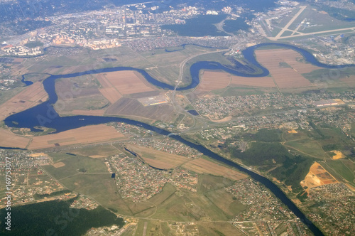 Aerial view - Western Russia at spring time
