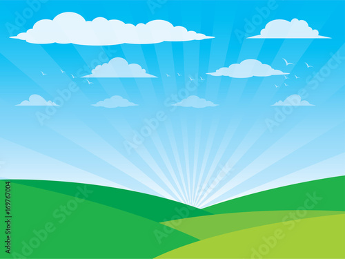 Fotobehang Blauw Vector Farm Landscape with Trees ,Clouds, birds, sky, Vector illustration