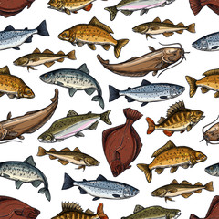 Vector fish pattern of seamless sea ocean fishes