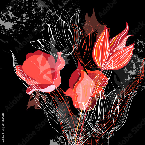 Graphics illustration with different tulips