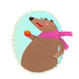 Bear Eating Apple Portrait. - 169775823