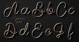 3d render of copper font with letters made of metal wire - 169778887