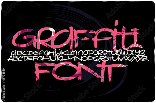 Graffiti font with colorful pink abstract background fill