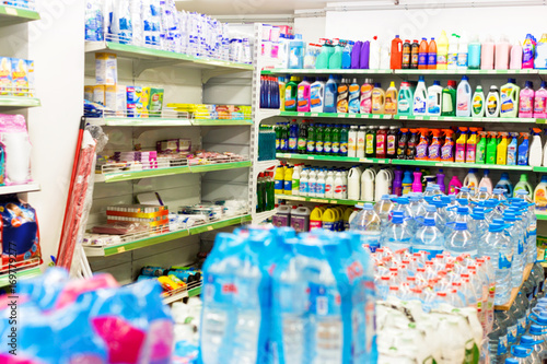 Chemistry department with detergents on shelves