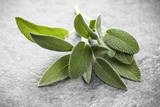 Sage leaves over black stone background. Top view. - 169786494