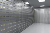 safe deposit boxes inside bank vault - 169799043