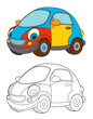 cartoon car isolated coloring page - illustration for children