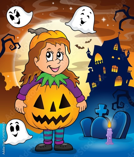 Aluminium Voor kinderen Girl in Halloween costume theme image 2