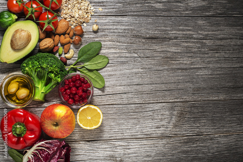 Foto op Canvas Brussel Healthy food with vegetable and fruits