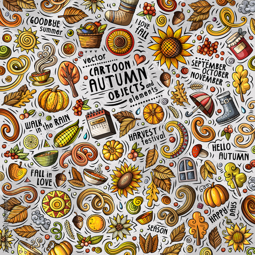 Cartoon cute doodles hand drawn Autumn illustration with lots of objects - 169812897