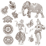 Elephant, dancers, mandalas, birds, flowers in the mehendi style. Set of ornate elements for design.