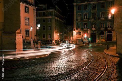 Old European city street at night Canvas Print