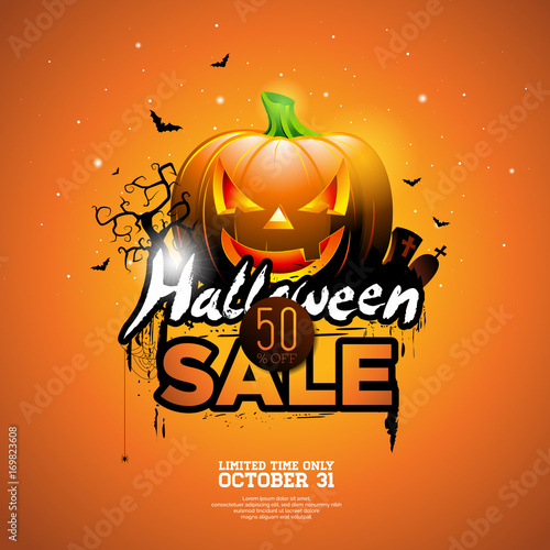 Hallowen Sale vector illustration with pumpkin, cemetery and bats on orange sky background. Design for offer, coupon, banner, voucher or promotional poster