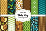 Cute set of childish seamless patterns with dinosaurs ideal for fabrics, wallpaper and different surfaces © erinphoto10