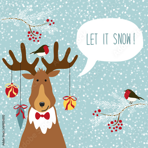 Cute retro Christmas card with funny cartoon character of deer with speech bubble