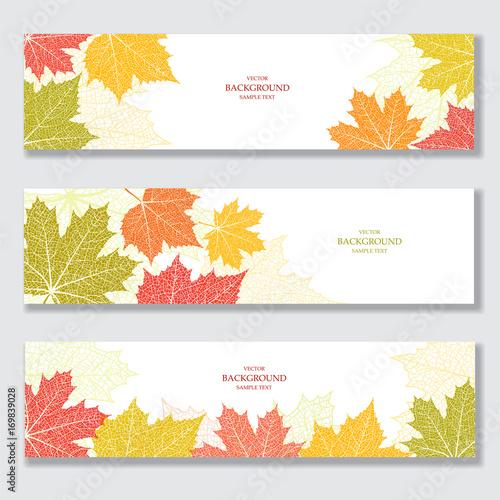 Zestaw banerów przyrody z liści jesienią