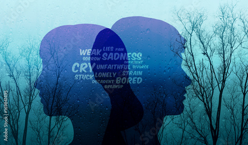 Sad Relationship in Couple Concept, Present by depressed wording on Shape of Man and Woman combinated with Old Dry Tree and Rain, Blue Filter Effect