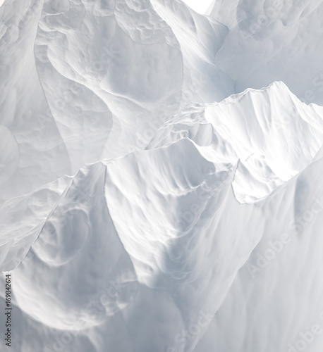 White background with mountains. 3d illustration, 3d rendering. - 169842614