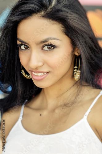 Beautiful exotic woman pretty smile