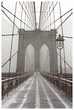 Brooklyn Bridge in winter storm