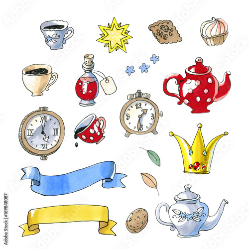 Watercolor illustration isolated on white background. Set of fairy tales object