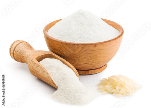 Rice flour isolated on white