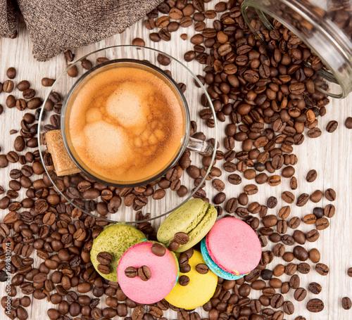 Aluminium Koffiebonen macarons with coffee