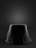 Black background with a pedestal. 3d illustration, 3d rendering.