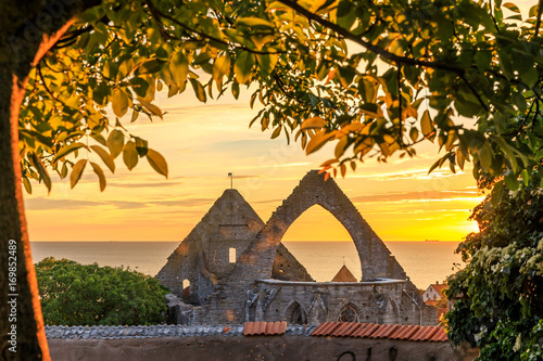 Summer sunset over Visby Old Town, Gotland, Sweden Poster