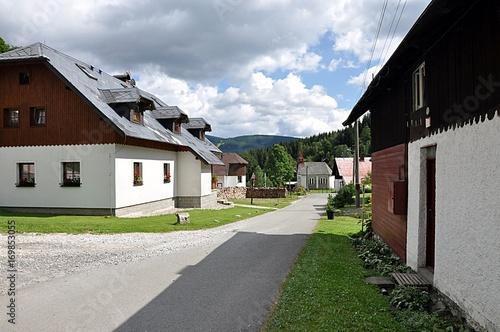 village Petrikov, landscape Jeseniky, Czech republic, Europe  Poster