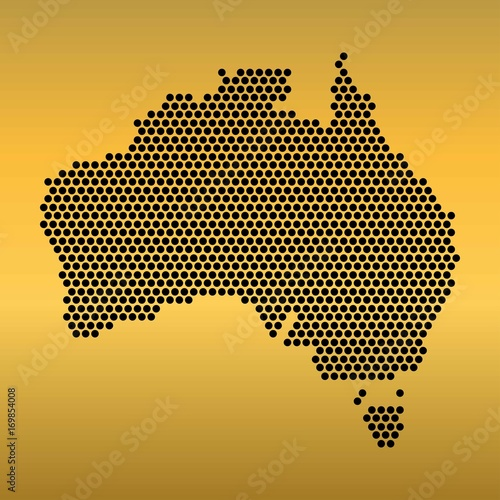 Australia Map Shape.Australia Map Of Circle Shape On The Gradient Gold Background