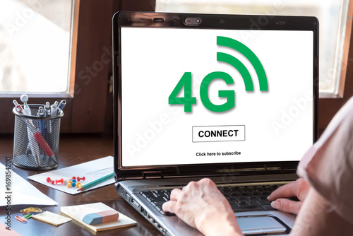 4g network concept on a laptop screen Poster