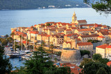 Sunset view of Korcula Old Town, Croatia - 169855683