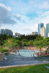 KLCC Park is a public park in Kuala Lumpur, Malaysia. Wading pool is in the middle of the park, in front of Suria KLCC mall and Petronas Twin Towers