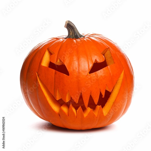 Spooky Halloween Jack o Lantern isolated on a white background - 169862024