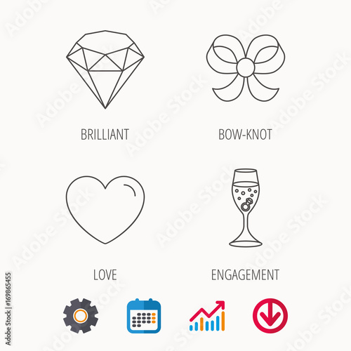 Love heart, brilliant and engagement ring icons.