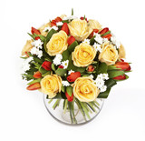 bouquet of yellow roses and red tulips in vase isolated on white background - 169871809