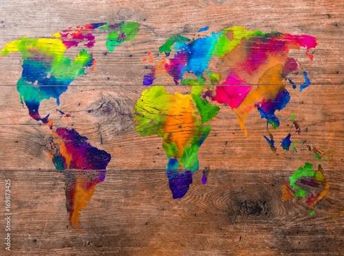 Aluminium Wereldkaarten world map