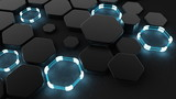 Black abstract background with hexagons and glow. 3d illustration, 3d rendering.