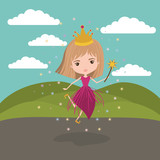 princess fairy fantastic character with crown and magic wand in mountain landscape background
