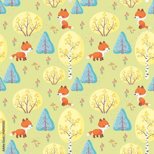 Materiał do szycia Kolorowy wzór bezszwowe Baby z wizerunkiem cute zwierząt leśnych. Tło wektor.