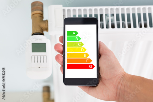 Person Adjusting Temperature Of Thermostat Using Cellphone Poster