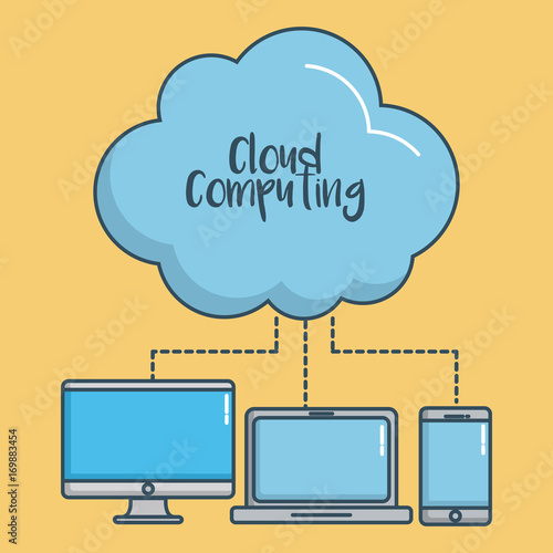 cloud with computers and smartphone icon over yellow background colorful design vector illustration
