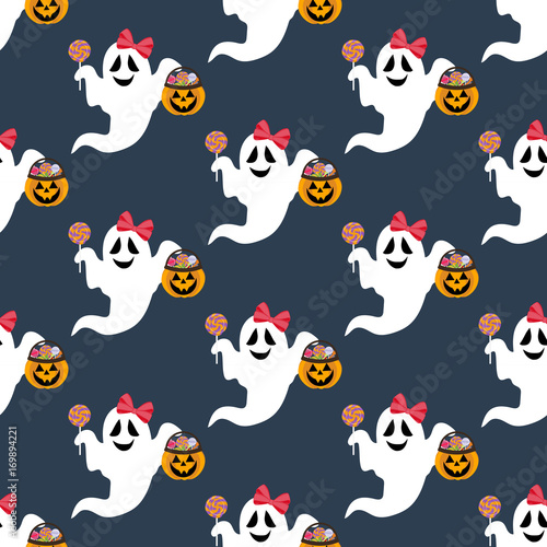 Cotton fabric Halloween ghost pattern
