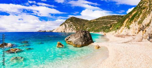 Fotobehang Freesurf Most beautiful beaches of Greece - Petani in Kefalonia, Ionian islands