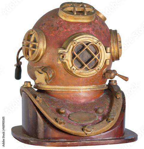 Plakat Antique, Brass Diving Helmet on a White Background