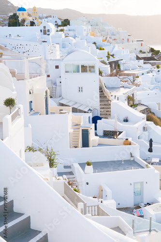 Fotobehang Santorini Oia town on Santorini island, Greece. Traditional and famous white and rose houses at sunny day