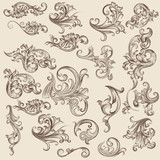 Set of vintage victorian flourishes for decorations - 169909262