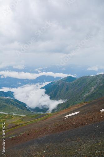 Fotobehang Groen blauw Beautiful Georgian Caucasus Landscape in Upper Svaneti fonfonefonovyi riezhimkontiekstobrazovaniiepodghotovkapodopliokapriedposylkapriedystoriiaproiskhozhdieniiezadnii planзадний планконтекстобразова