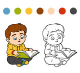 Coloring book, Young boy reading a book